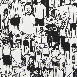 """Panel #2. A dense conglomeration of people, though less so than the first """"All of Us"""" panel, creating an all-over textural pattern. This panel shows people involved in a greater range of activities, including seated and reclinging, as space allows. Printed in black on white ground."""
