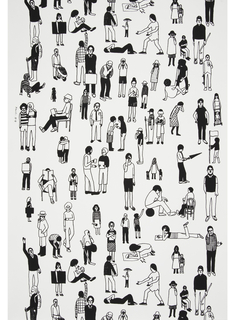 Panel #4 contains a sparse arrangement of figures performing a variety of poses and activities. Much of the white ground is visible around the people. Printed in black on white ground.