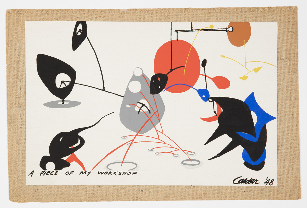 "Mural miniatures of large-scale wall decorations designed especially for silk screen reproduction by the artists Calder, Matisse, Matta and Miro. They are entitled respectively, ""A Piece of My Workshop"", ""Arbre en Fleur"", ""Sun Dice"" and ""El Sol."" Originally part of a samplebook with information on the artists. Each print is attached to a stiff piece of burlap."