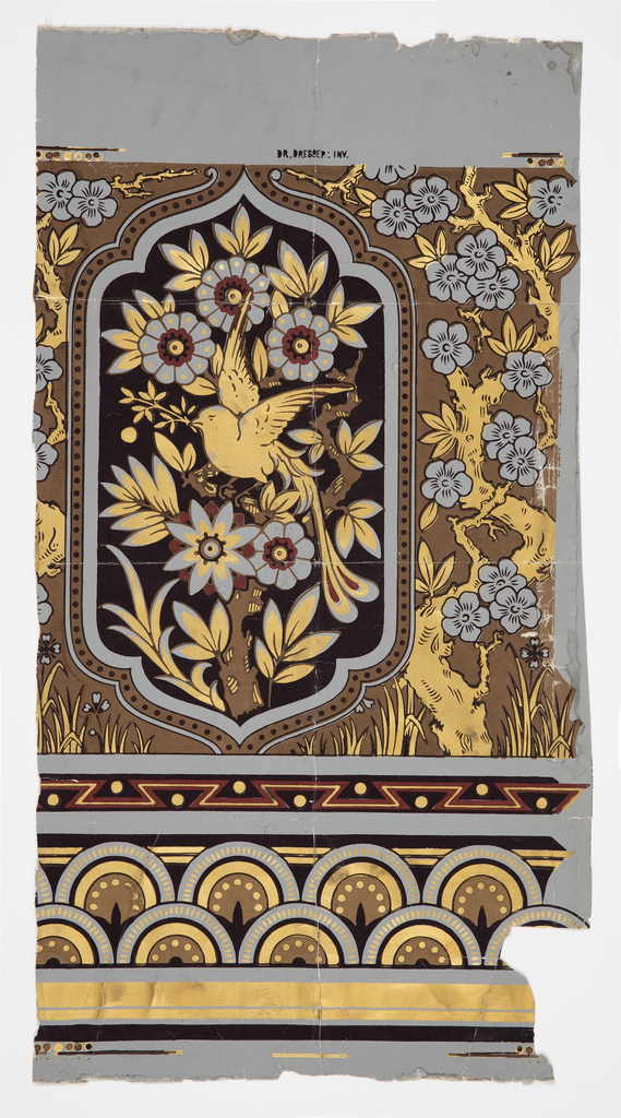 One repeat showing shaped panel enclosing a flowering branch with perching bird, against ground set with flowering branch and grass.  Bands of conventional ornament across bottom. Printed in red, browns, black and metallic gold on gray ground.