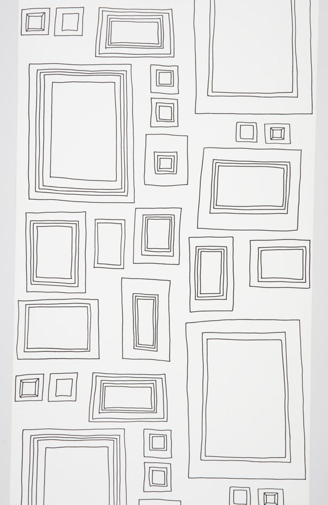 Children's interactive wallpaper containing seventeen different picture frames of varying size. The frames are freely drawn in black line on a white ground. The empty frames are designed to be drawn in.