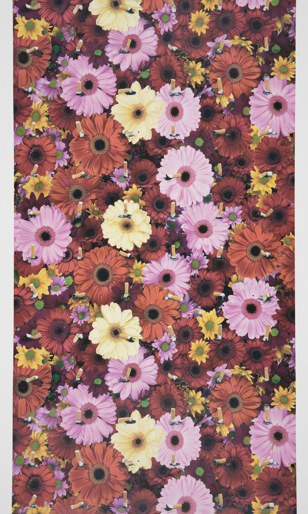 Dense overall pattern of brightly colored flowers with a grid of smashed cigarette butts printed on top.