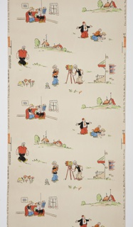 "Children's wallpaper featuring characters from the ""Popeye"" cartoon: Popeye, Pappy, Olive Oyl, Bluto, Sweet Pea and Wimpy. Copyright by King Features Syndicate is noted on the selvedge. Printed in eight colors on an off-white ground."