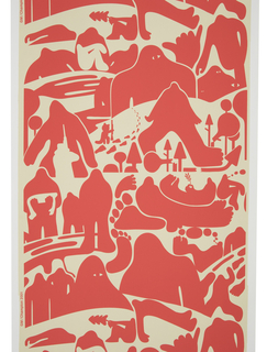 An amorphous creature reminiscent of Big Foot is seen trekking through snow-covered fields and forests with a hunter in pursuit. At times the creature appears to become part of the landscape. Printed in red on white ground.