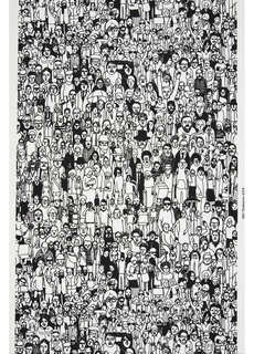 Panel #1 is a very dense conglomeration of people creating an all-over textural pattern. People are shown in a variety of poses and performing a range of activities. Printed in black on white ground.