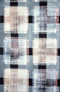 Large grid of dark grey metallic lines on a silver ground enclosing a randon grid in silver, peach, blue, sand and pink. The overall effect is like a plaid.
