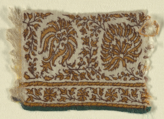 Stylized flowerheads in scrolling framework of vine-like stems and tiny leaves. Smaller floral guard border on one side within twisted guard strips. Dark green twill selvedge on one side; plain one on the other.