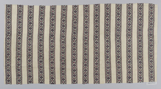 Fragment with a white ground printed in a pattern of vertical stripes containing a meandering floral vine between guard borders of red and white checks.