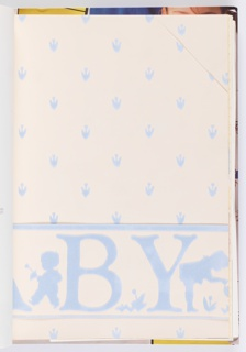 Sample book of children's wallpapers and borders is divided in two sections: designs for boys and girls. The boys papers are all on one side of the book, while the girls papers are accessed from the opposite side. Designer names and dates are listed for each design. Each design is shown in multiple color ways and also include fabric swatches.