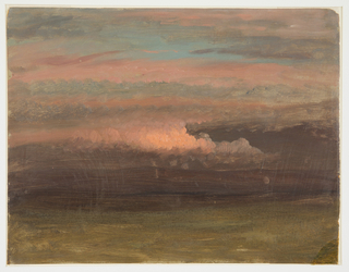 A spot of pink illuminates low hanging clouds.  Low distant hills. Open meadow in foreground.