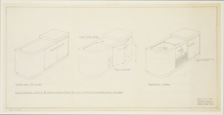Drawing, Design for a Combination Radio and Phonograph Cabinet with Sliding Top and Folding Doors