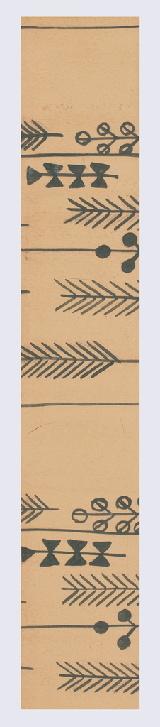 Brown ground with feather and foliate pattern in dark green.