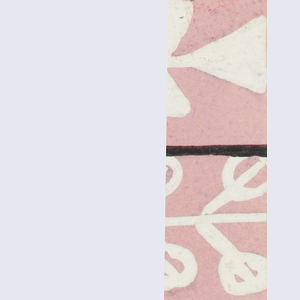 Pink ground with feather and foliate pattern in white and black.