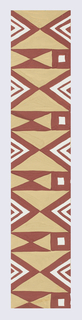 Geometric zigzag pattern punctuated with squares; here, a partial view of diamond and triangle forms in tan, brown, and white.