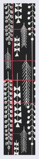 Black ground of feather and foliate pattern in red and white.