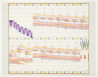 "Multicolored drawing of transcription of Wagner's ""The Magic Fire-Scene."" Based on John De Cesare's ""Theory of Visual Space in Music,"" this drawing translates musical notes for sound to ""musical notes for space"" in order to illustrate a visual dimension of music. Throughout composition, geometric forms (triangles, semicircles, rectangles, squares) in a variety of colors and sizes, each representing an aspect of the musical score, sometimes overlapping."