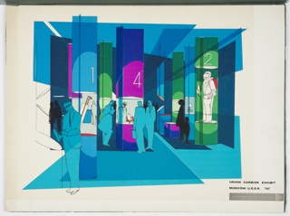 Design for Union Carbide exhibit at the Second International Chemistry Exhibition in Moscow, 1970 (Khimiya 70). Interior view rendering presents numbered cylindrical exhibition cases in blue, magenta, and green displaying products including a space or haz-mat suit. Additional cylinders slide at angles present exhibit information; visitors are depicted reading texts and examining objects. Zipatone precisely cut or layered creating collage effect, while pen and ink articulate the figures and displays.