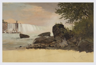 Horizontal view of Niagara Falls, New York shown from the Canadian bank.