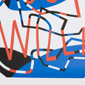 On white ground, typographical design with red letters composing the name of the music festival, each group of letters or words connected to other groups by overlapping thin curving lines patterned in blocks of red, white, blue, and black. Biomorphic shapes in red, blue, and black in background; some elements overlap the curving lines in foreground.