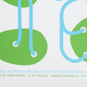 On white ground, an array of green oval forms, each connected to at least one other shape by a curving blue line originating from a small white circle. Together, the blue lines create a typographical message with the name of the music festival.
