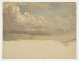 Clouds shown against blue sky. At lower edge, the cream colored ground is visible. Verso: graphite landscape and cloud study with numbered annotations throughout.  Verso: