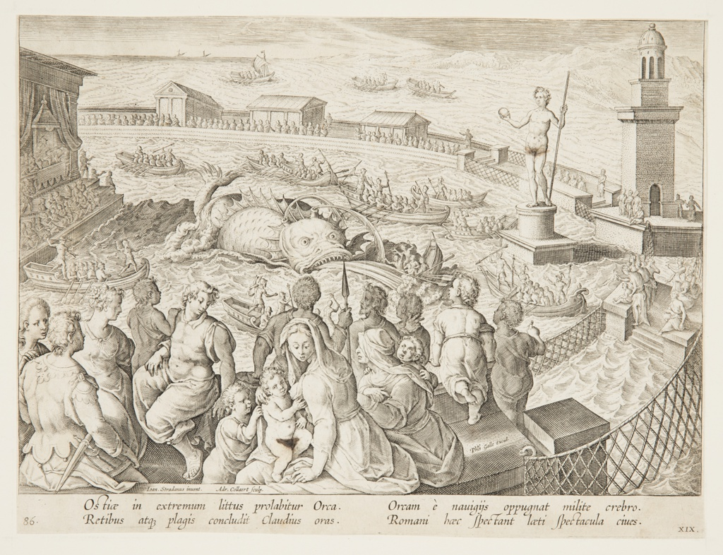 Figural seascape scene, with groups in the foreground observing an orca sea monster trapped within a walled area. A statue and a tower at right. Open boats filled with men surround the monster, while spectators watch from the wall.