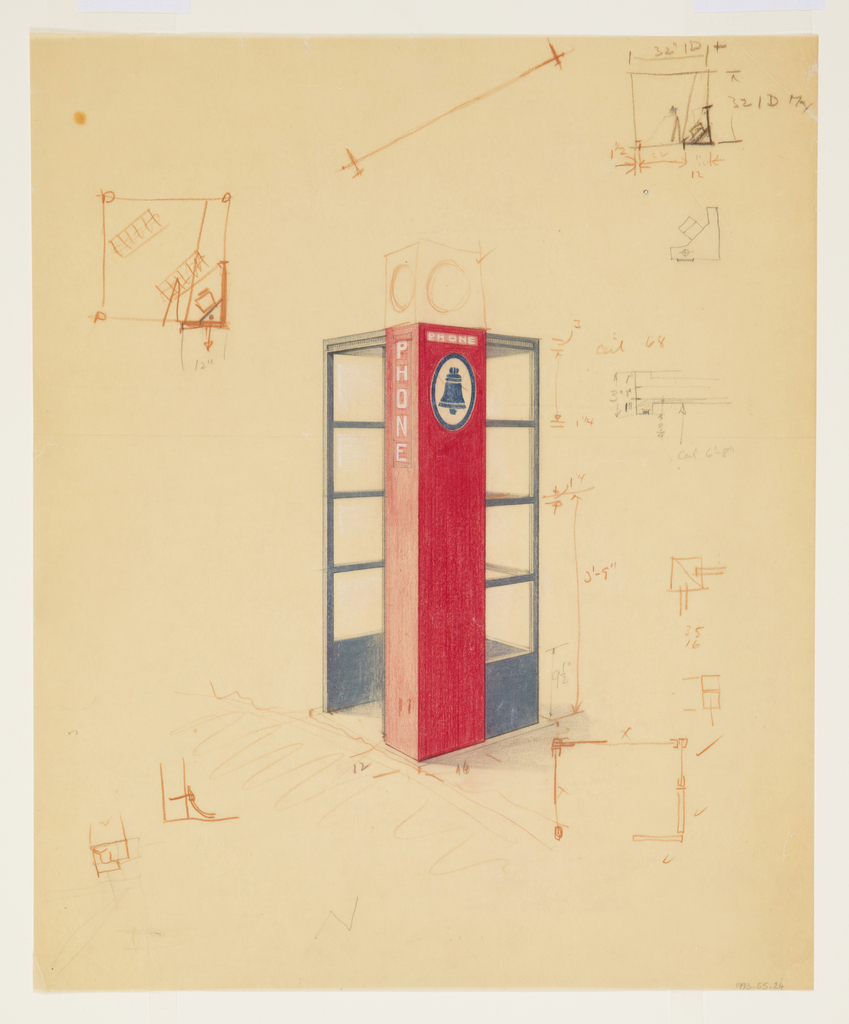 "On cream paper, design for a telephone booth in three-quarter view on a diagonal. On three walls, square windows bordered in blue; the opening for entry on the fourth wall; a red rectangular adjacent pillar with the Bell Telephone logo in blue and the word ""PHONE"" written vertically and horizontally in white. Throughout, measurements, notations, and variations of the phone booth plan in brown color pencil and graphite."