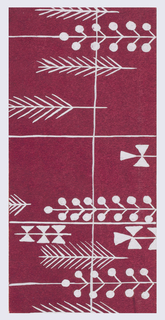 Maroon ground with feather and foliate pattern in white.