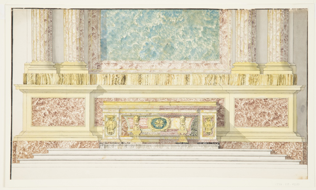 Drawing, Altar Mensa for the Capella Paolina (Borghese Chapel), Santa Maria Maggiore, Rome, Italy
