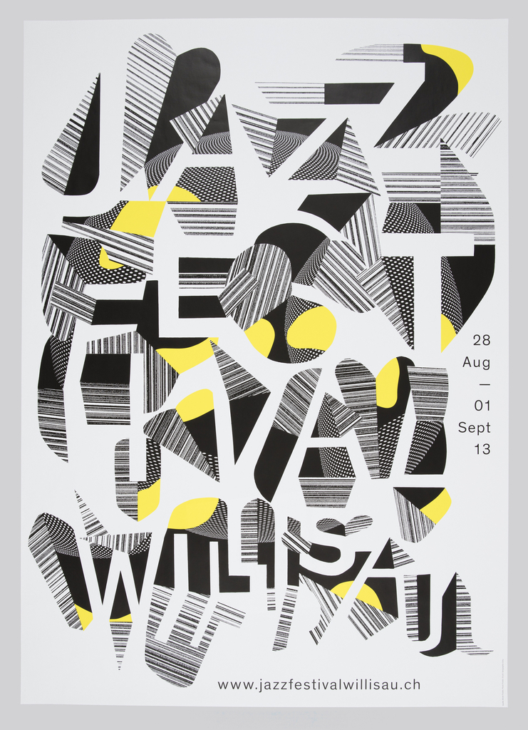 On white ground, typographical design with white letters composed of the negative space between abstract biomorphic shapes in black, white, and yellow. Juxtaposing patterns of black and white stripes and dots throughout composition.