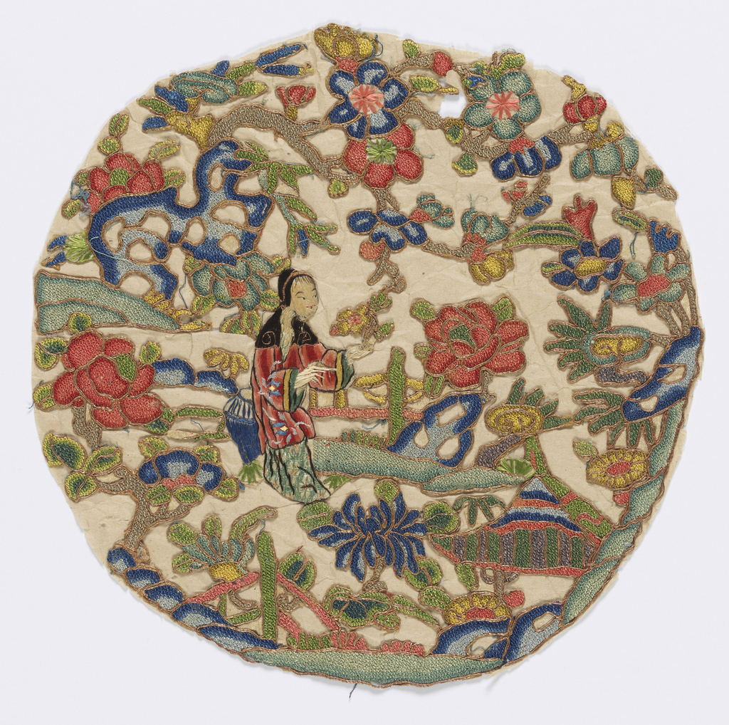 Roundel with a young lady seated in a garden surrounded by flowering trees. In polychrome silks outlined in gold metallic embroidery.