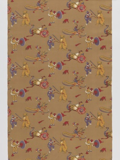 Length of printed cotton with a circus motif: a clown with a pig jumping through a hoop, a monkey riding a dinosaur, a bear making a clown dance, and a monkey riding in a chariot pulled by an ostrich. In purple, red, gold and white on an ochre ground.
