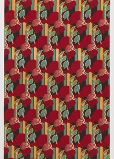 Length of printed silk with a geometric design of circles, stripes, a leaf-like form, and a tulip-like form. In red, turquoise, green, cream, and dark brown.
