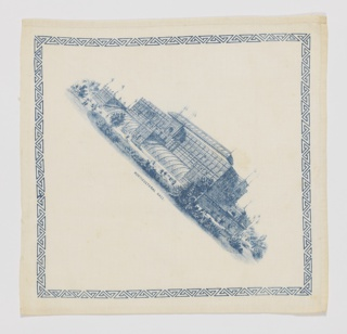 Commemorative handkerchief from the Centennial Exposition at Fairmount Park, Philadelphia. In the center is a diagonally placed depiction of Horticultural Hall in blue on a white ground. A blue printed zigzag border is on all sides. Three hemmed sides and one selvedge are present.