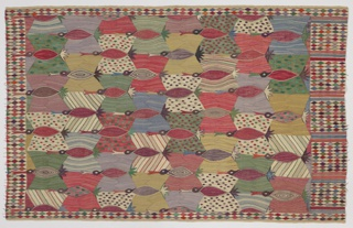 Multicolored hanging in an allover pattern of stylized birds.