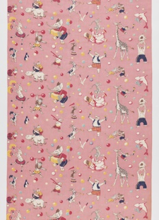 Length of printed cotton with a pink ground and design of circus animals and balloons; some animals are playing musical instruments and others are performing acrobatics.