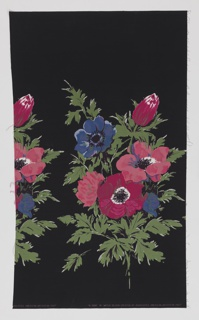 Yard goods; cotton border print, large anemones in shades of rose, blue, and lavender with green leaves on a black ground, a Soap 'n' Water design created by Associated American Artists, 1957.