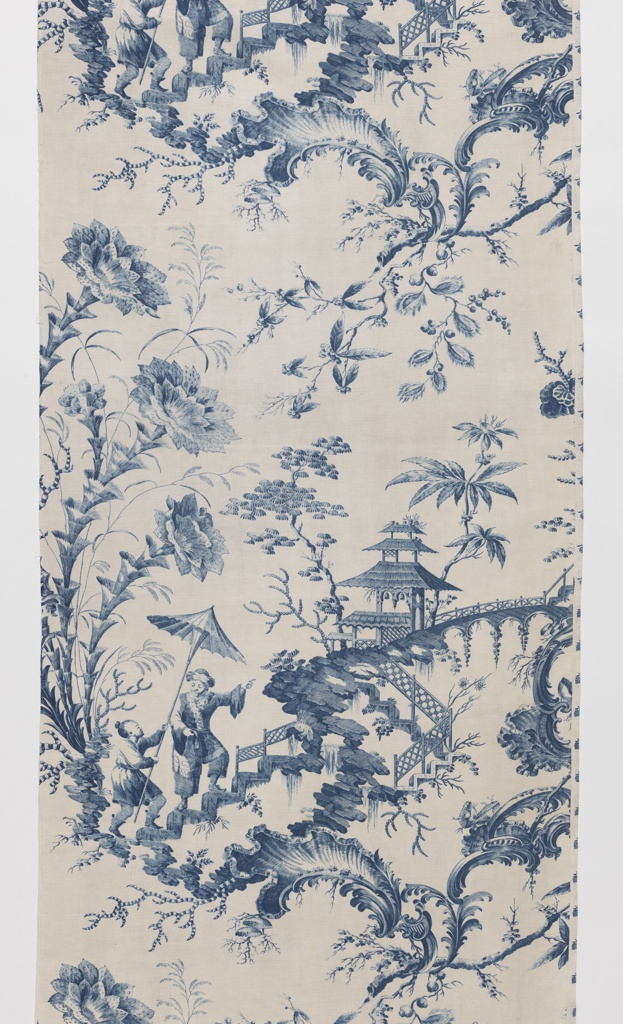 White curtain panel printed in blue with chinoiserie design. Two Asian-inspired figures climbing a fantasy stairway in mid-air, a figure pointing to the top of a hill where a pagoda-like structure sits. Oversized flowers, foliage, and rococo scrolls accent the landscape. Narrow rectangular panel with six tabs along top edge for hanging.