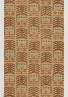 Length of printed fabric printed with scenes of suburban houses with people coming home from work, tending their lawns, barbequeing, etc. White ground with varied shades of green, orange and mustard yellow.