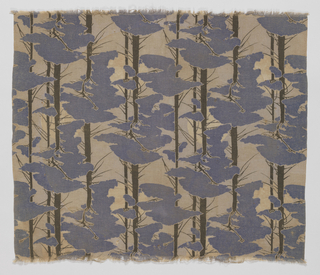 Length of textile printed in the Arts & Crafts style, with a full moon seen through pine trees, reflecting the influence of Japanese design.
