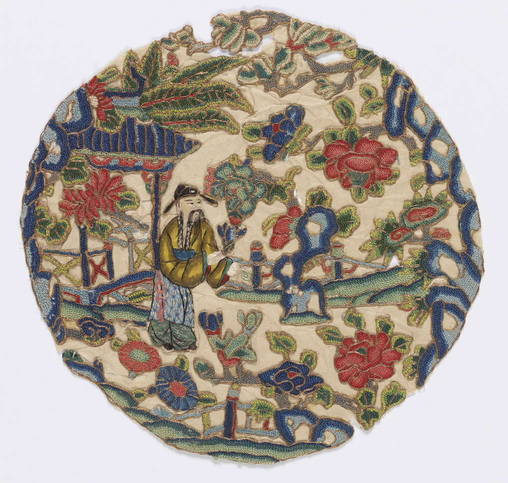 Roundel with an elderly man in a garden surrounded by flowering trees. In polychrome silks outlined in gold metallic embroidery.