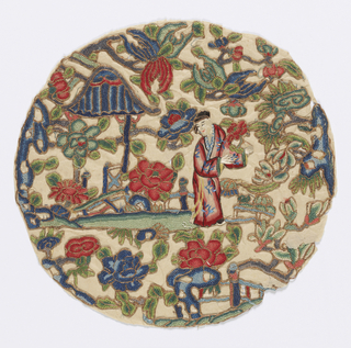 Roundel with a young man in a garden surrounded by flowering trees. In polychrome silks outlined in gold metallic embroidery.