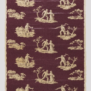 Length of printed textile with scenes of farm laborers in white on a maroon ground.