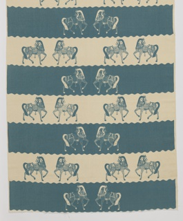Length of printed textile with alternating aqua-blue and white stripes with scalloped edges. Stylized horses grouped in pairs are printed in the opposite colors.