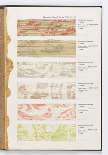 Screen printed papers and vinyls, mostly floral; and borders, combinations of grass cloth over printed papers, paper-backed textures, fabrics, imported marbleized papers, sheared cork, foils, faux bois.
