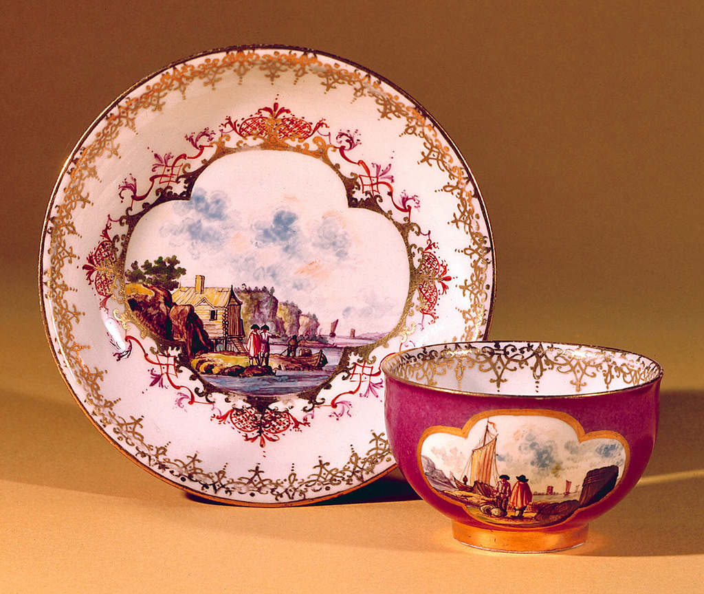 Cup and Saucer with Waterside Scenes Cup And Saucer