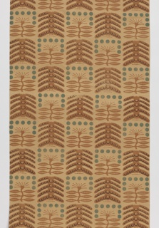 Lined drape with a hand block printed with a checkerboard design of two abstracted tree designs. In tan, brown and green on a beige ground.
