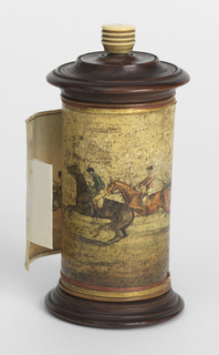 "Panorama ""Epsom Race""  a.:  Panorama b.:  Wooden Cylindrical Case c.:  Base d.:  Top e.:  Finial f.:  Central Support"