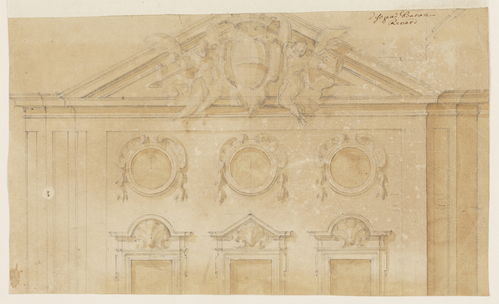 The upper part of three windows, three bull eyes and a triangular pediment are shown. Two winged genii support a coat-of-arms. Verso: parts of architectural plans.