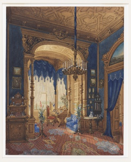 This interior is dominated by royal blue walls, tasselled window treatment and heavily carved ceiling and wall panels.  An orange carpet is decorated with Islamic motifs.  A corner cabinet, a desk, miniature paintings and potted plants reflect an interior truly in the Victorian spirit.